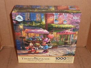 New Disney Thomas Kinkade 1000 Piece puzzle Mickey & Minnie Sweetheart Cafe
