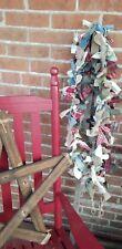 6 Ft Rag Garland prim Fabric Country Primitive Farmhouse Christmas rustic wreath