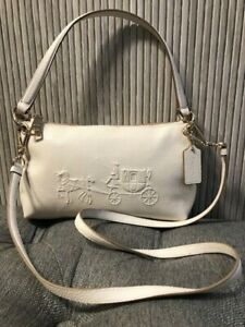 Auth. Coach Embossed Horse & Carriage Pebbled Leather Charley Crossbody Bag