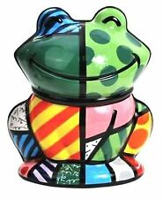"ROMERO BRITTO 'Frog' 10"" Ceramic Cookie Jar Sculpture Figurine RETIRED ***NIB***"