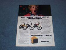"1980 Yamaha YZ50 MX100 DT100 Vitnage Motorcycle Ad ""Make Your Kid Light Up..."""
