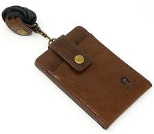 Rove On Neck Wallet ID Badge Holder Lanyard Genuine Leather (Brown)