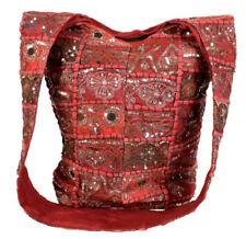 Bolsa de Tela Sari Reciclado Rojo Hippy Sling Bandolera Cremallera Boho comercio justo! nuevo!