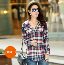 Fashion Women Casual Button Down Hooded Lapel Shirt Plaids & Checks Blouse Tops