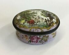 Antique 19th Century Enamel Snuff Box Decorated With River Landscape