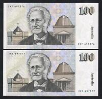 Australia R-613. (1992) Fraser/Cole - 100 Dollars. CONSECUTIVE Pair - aU-UNC