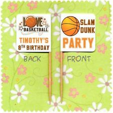 20 PERSONALISED BASKETBALL PARTY CUP CAKE FLAG Pick Topper Decoration Birthday
