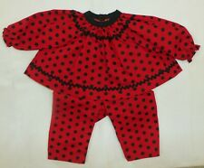 Red / Black Polka Dot Top & Pant to fit Deluxe Reading Baby Boo Doll