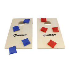 Get Out!™ | Mini Corn Hole Set – Bean Bag Toss Game – Tabletop Cornhole Game