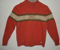 WOOLRICH Women's Quarter Zip Sweater  70%cotton 30% Lambs wool Size L