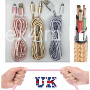 2M Strong Braided Micro USB Data Sync Charger Cable for Android Rose Gold Silver