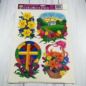 Vintage Color Clings Easter Cross Church Window Decorations Cottontale