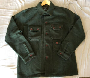 Men's Olive Green Wool Barbour Shirt (Size Large)