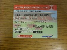 22/08/2006 Ticket: Leyton Orient v West Bromwich Albion [Football League Cup] (f