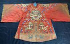 Gorgeous Antique 1900s Chinese Red Silk Robe With Gold Metallic Dragons