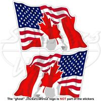 USA United States America-CANADA American-Canadian Flying Flag 120mm x2 Stickers