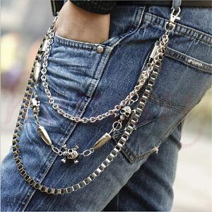 Men Trousers Pants Belt Key Chain Punk Skull Jean Gothic Rock Silver Three 3 Row