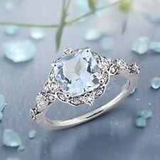 4Ct Cushion Cut Aquamarine Synt Diamond Art Filigree Ring White Gold Fnsh Silver