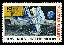 US Postage Stamp PHOTO MAGNET First Man on the Moon 1969 Issue 10 cents Air Mail