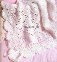 Crochet Pattern Baby Blanket Throw Fancy Lace