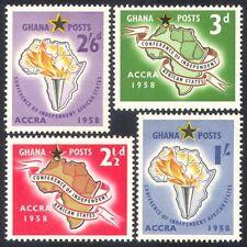 Ghana 1958 Independent States Conference/Map/Flame/Torch/Emblem 4v set (n38582)