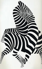 "zebra victor vasarely vintage art painting print for your glass frame 36""  x 24"""