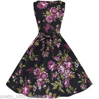 PRETTY KITTY ROCKABILLY BLACK FLORAL COTTON VINTAGE SWING AUDREY 50s DRESS 10-22