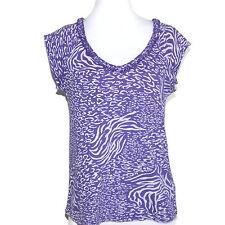 FRESH PRODUCE Purple Animal Print Ruffle Collar Cap SleeveTop size Small S