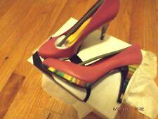 Unique Nine West Rocha pink leather with multi-colored heels & platform 7.5 M