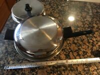 Amway Royal Multi-Ply 18/8 Stainless Steel Fry Pan Skillet With Lid & Dome Lid