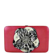 Fuchsia /& Leopard Tri-Fold Rhinestone Flower Wallet