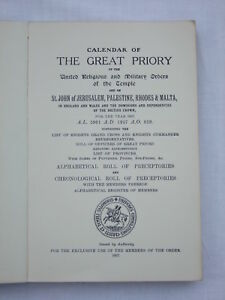 Calendar of The Great Priory Vol.XIII Part II Liber Ordinis Templi 1957