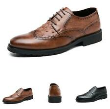 Men Low Top Faux Leather Shoes Business Pointy Toe Oxfords Wing Tip Work Party L