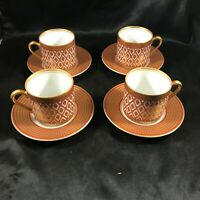 Set of 4 FITZ AND FLOYD Gold Pavilion Tea Cups and Saucers 8 pc total