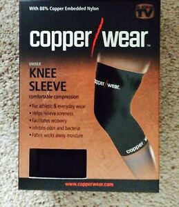 Copper/Wear Knee Compression Sleeve Men's & Woman's Black Choose Size NIB