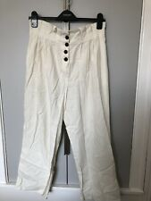Topshop White Linen Wide Leg Trousers Size 10 - used