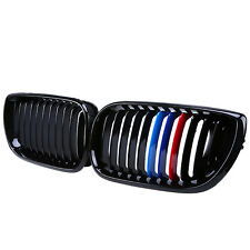 2xGloss Black M-Color Front Kidney Grille Grill For BMW E46 4Door 3 Series 02-05