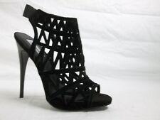 Steve Madden Size 8.5 M Bratt Black Leather Open Toe Heels New Womens Shoes NWOB