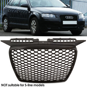 RS STYLE BADGELESS DEBADGED FRONT BLACK MESH GRILL GRILLE FOR AUDI A3 8P 04-07