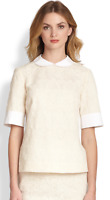 Tory Burch Aurelia Lace Top Off White Ivory Short Sleeve 6 NWT Peter Pan Collar