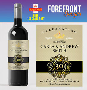 Personalised Wine bottle label 30th PEARL wedding anniversary/wedding gift