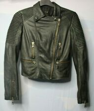 Canal Women's Black Leather Motorcycle Jacket Size S Small Used Condition