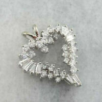 "1 ct Round & Baguette Diamond Heart Shaped Pendant With 18"" 14k White Gold Over"