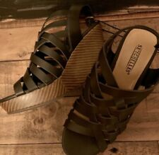 e7d9a352da02 Seychelles Anthropologie Black Strappy Wedge Heel Platform Sandal Sz 7 NEW