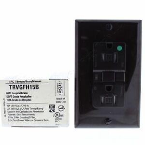 Cooper Brown Tamper Resistant Hospital GFCI GFI Outlet NEMA 5-15R 15A TRVGFH15B