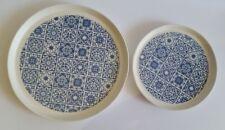 Set of Blue Tile Pattern Coupe Ceramic Dinner and Salad Plates