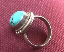 Tibetan Ring 925 Sterling Silver with Turquoise Stone (Size 4.5)