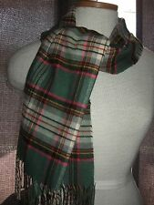 Beautiful Plaid soft as cashmere scarf with fringe pink green navy SWEET
