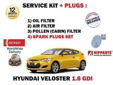 FOR HYUNDAI VELOSTER 1.6 GDI 2011--> NEW OIL AIR POLLEN FILTER KIT + SPARK PLUGS