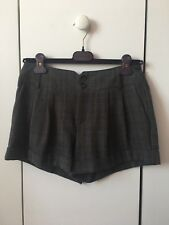 New Forever 21 Autumnal Wool-Like Check Shorts Pants Grey Small (UK 8-10)